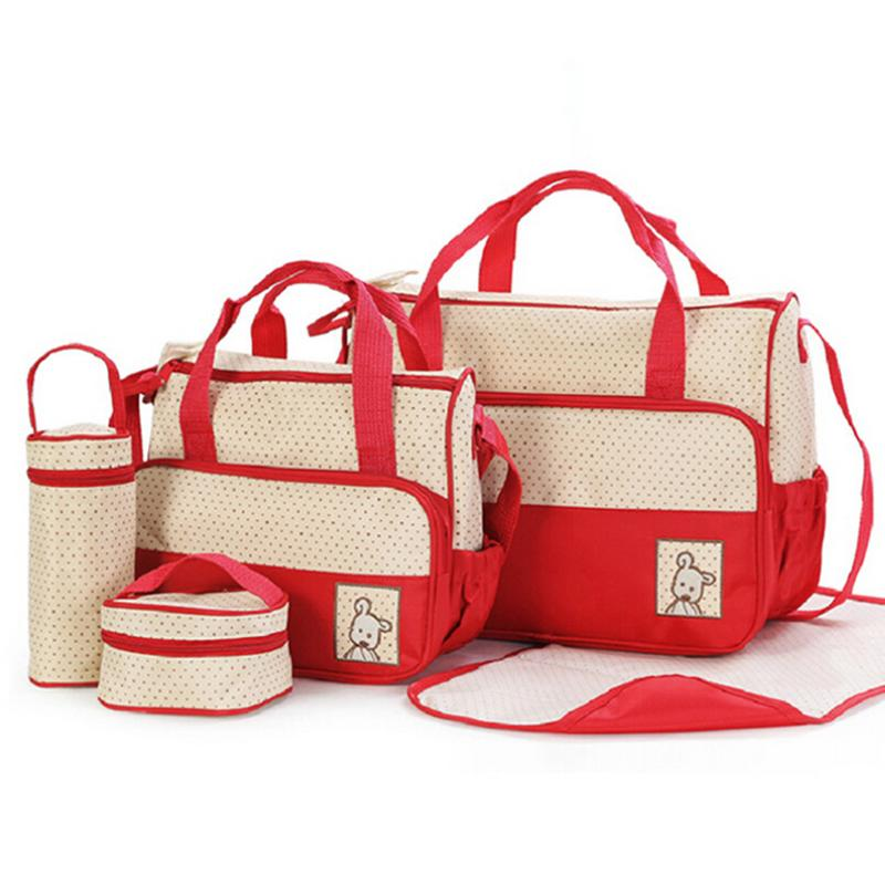 Mummy package combination 5pcs/set mother bags multifunctional baby changing care diaper bag baby stroller nappy bags mom(China (Mainland))