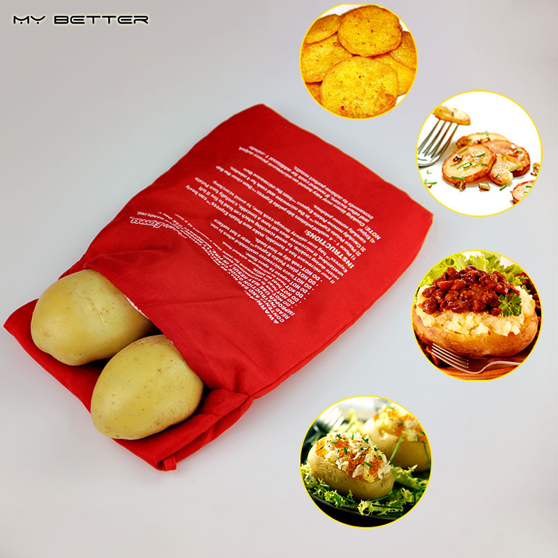 1pcs NEW Red Washable Cooker Bag Baked Potato Microwave Cooking Potato Quick (Cooks 4 Potatoes At Once) Hot Selling(China (Mainland))