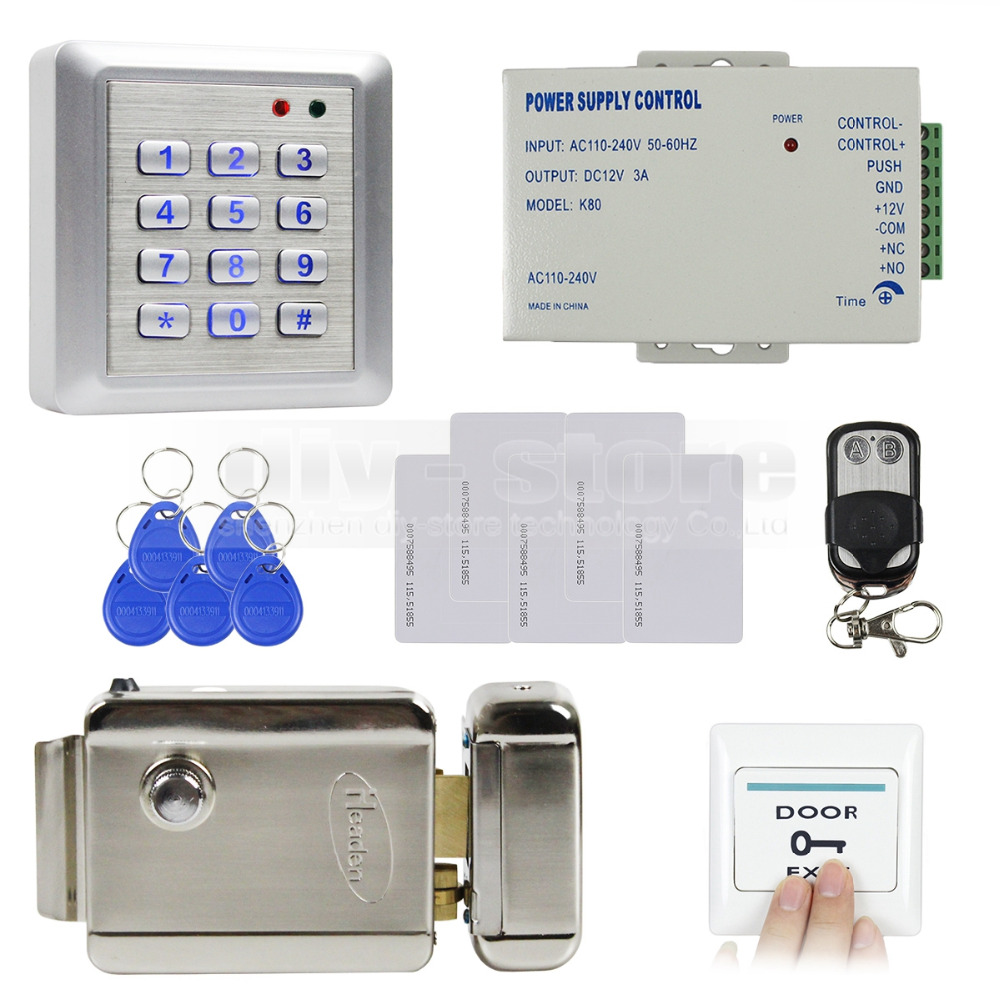 DIY Remote Control Waterproof RFID 125KHz Keypad Access Control Full Kit Set + Electric Lock NO Mode Brand New(China (Mainland))