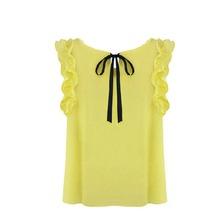 2016 New Summer Style Women's O Neck Lotus Leaf Pullover Lace Bow Chiffon Shirt Tops Folds Tidbits Women's Blouse Plus Size(China (Mainland))