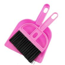 FJS!TOP! Amico Office Home Car Cleaning Mini Whisk Broom Dustpan Set Pink Black(China (Mainland))