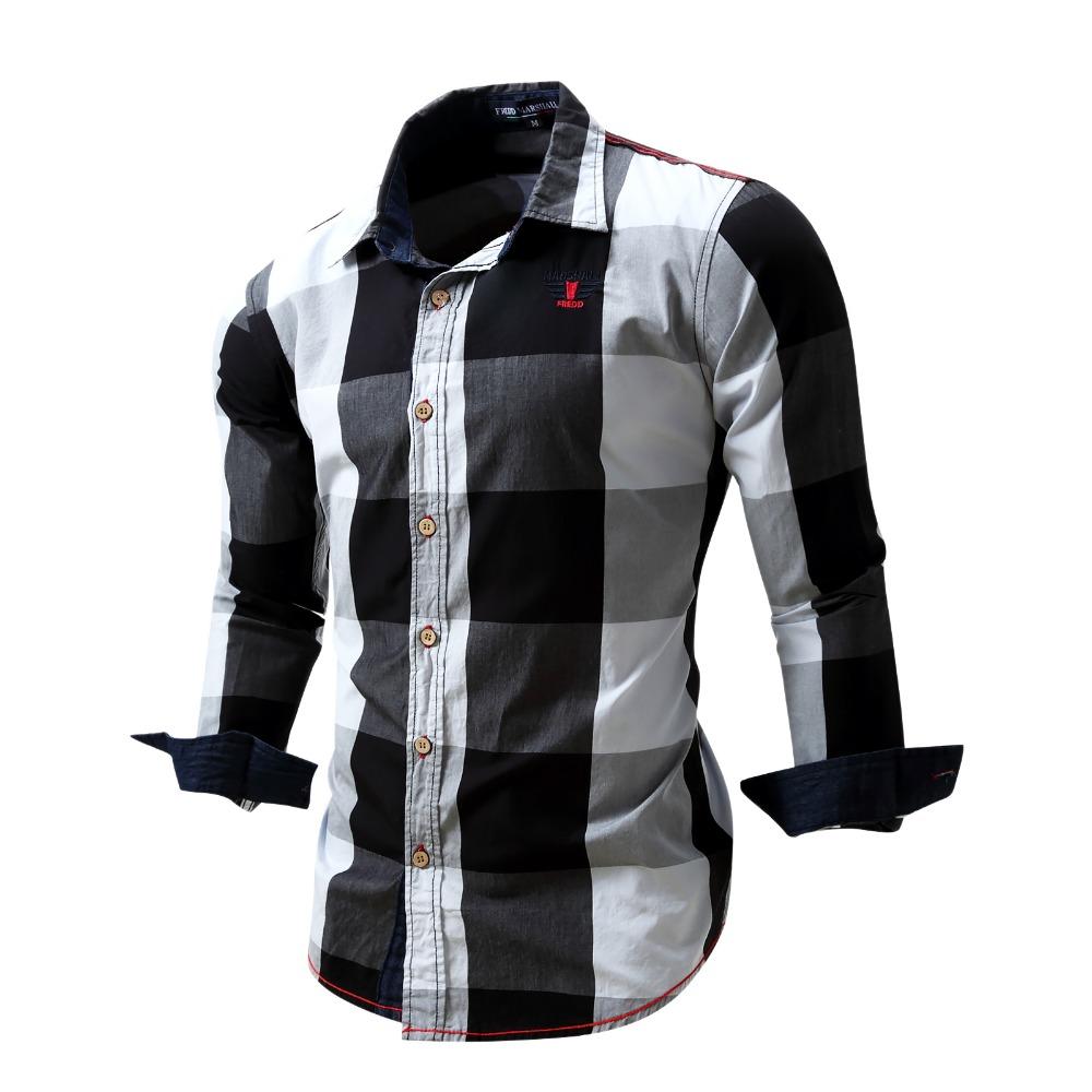 Free iron Big font b Plaid b font Shirts Man High Quality Cotton Shirt Full Sleeves