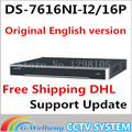 In stock free shipping DHL english version DS 7616NI I2 16P 2SATA 16POE ports NVR supporting