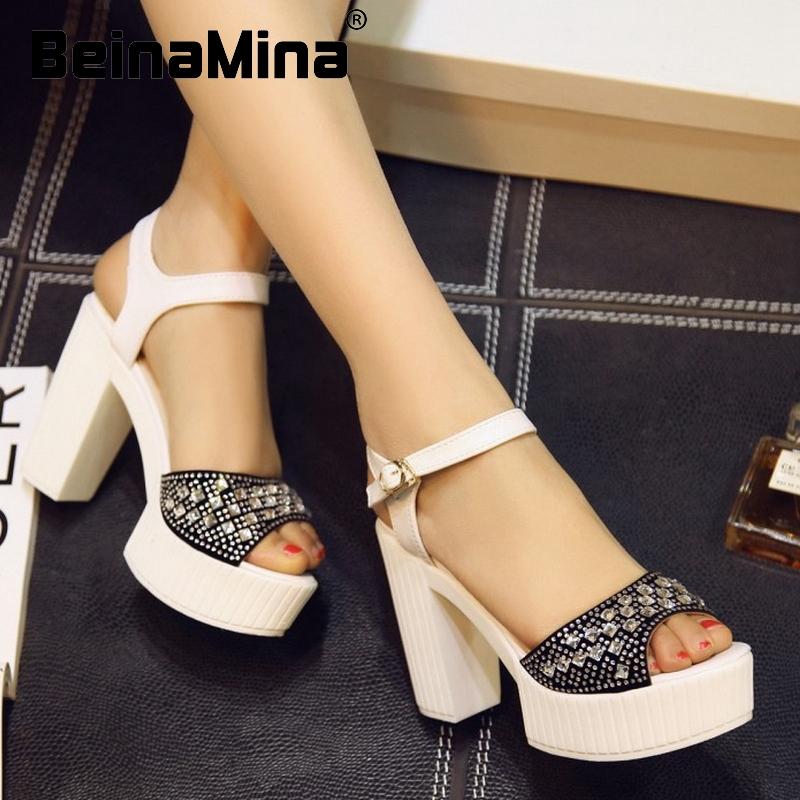 women square high heel sandals ankle strap sexy lady platform rhineston brand heeled footwear heel shoes size 34-39 P18286<br><br>Aliexpress