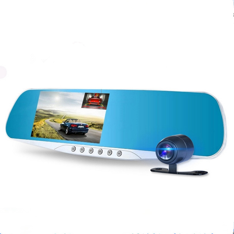 Novatek 96655 car dvr mirror rearview camera video recorder Dual car camera full hd 1080p 4.3 inch vehicle dvr car black box(China (Mainland))