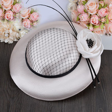 2016 Classic Spring Summer Royal Lady Party Fedora Dress Hat Flower Net Wedding Hat Fascinator For Church Cocktail Banquet(China (Mainland))