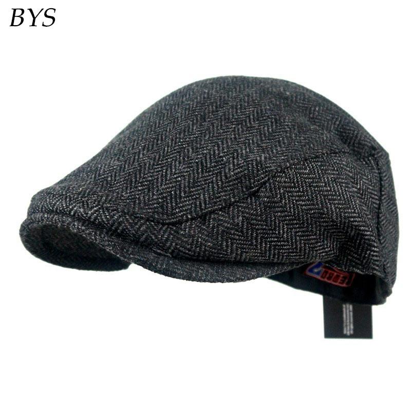2016 Fashion Herringbone Tweed Gatsby Newsboy Cap Men Cotton Ivy Hat Golf Hunting Driving Flat Cabbie