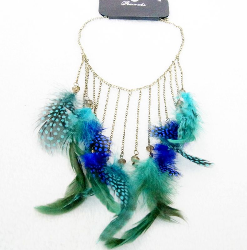 Fashion luxury accessories new arrival fashion women tassel feather pendant necklace for dress jewelry c18-634(China (Mainland))