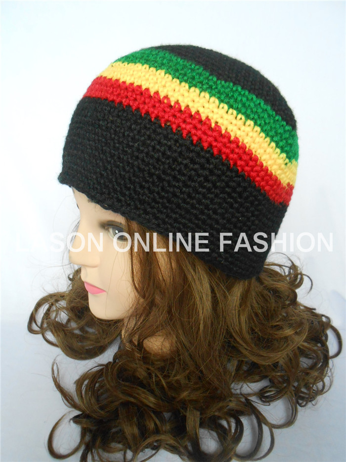 Jamaican Rasta Hat Tri-Color Knit Crocheted Tam Beanie Cap Adult Size Black/Red/Yellow/Green(China (Mainland))