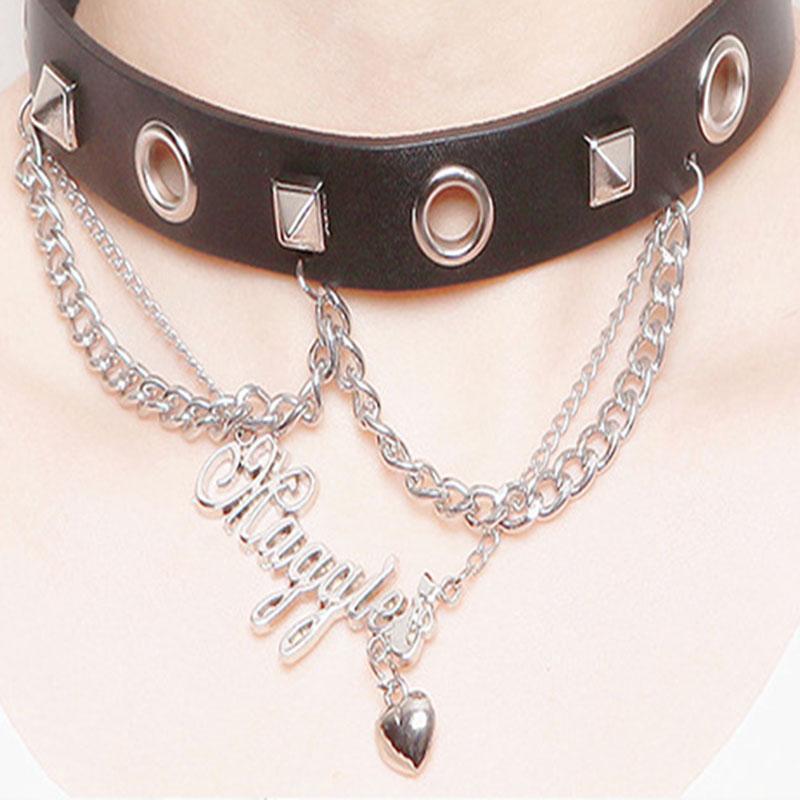 Fashion Rock Punk Jewelry Tassel Handcuffs Pendant Rivet Short PU Leather Choker Necklace Women Collar(China (Mainland))