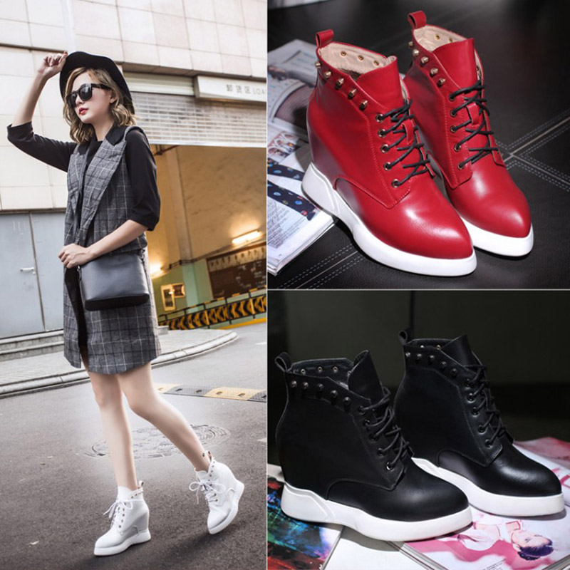 Rivets Winter Wedges Punk Shoes Height Increase Casual Short Boots High Top Hidden Heel Pointed Toe Platform Lace-up Ankle<br><br>Aliexpress