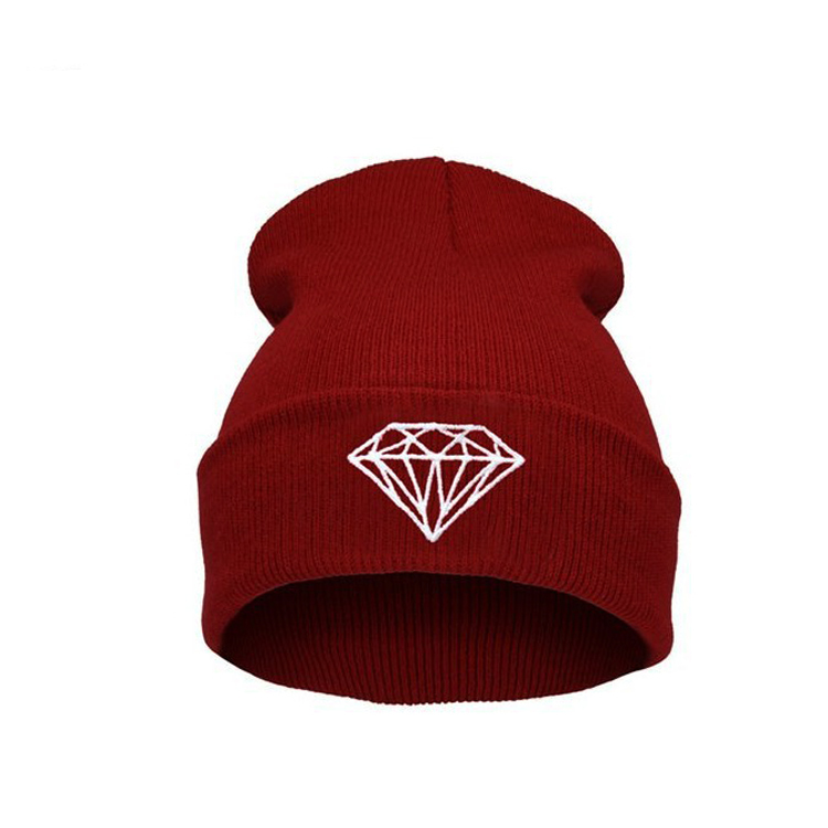 Hot Sale Personality diamond Pattern hip-hop Hat , knitting wool Spring Autumn Winter Multi Colors Beanie hats For women and men(China (Mainland))