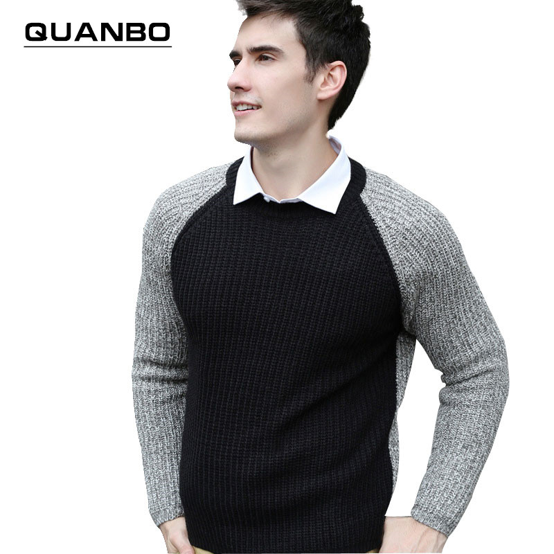 Men's Clothinmg Sweaters 2016 New winter Black Gray Patchwork pullovers hombre O-Neck Fashion Casual men wool sweaters Hot Sale(China (Mainland))