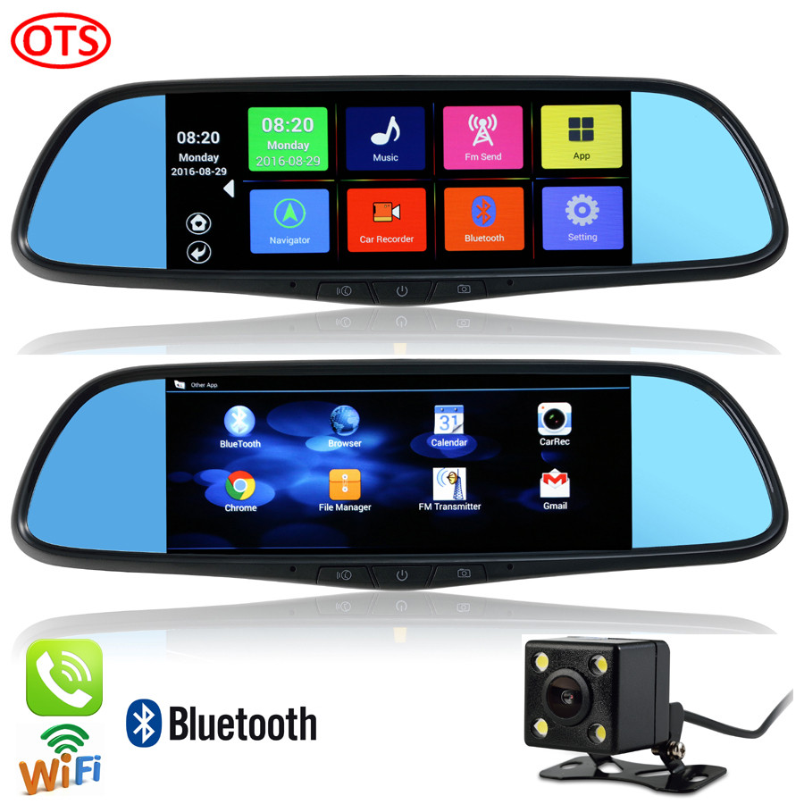 New 7 inch GPS Android Mirror GPS Navigation Bluetooth Phone Call WiFi DVR Full HD 1080P Dual Video Camera Rear View Mirror GPS(China (Mainland))