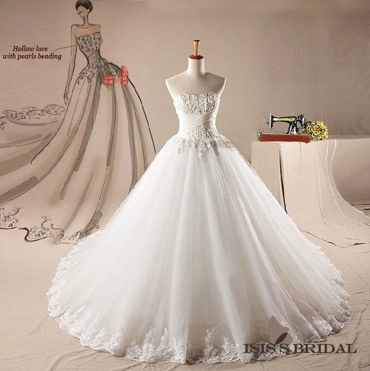 Ball Gown Wedding Dresses With Train : Train crystal white tull sleeveless ball gown bridal wedding dresses