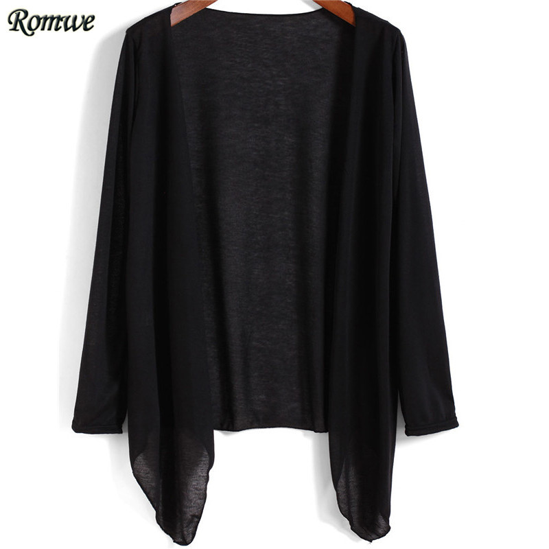 ROMWE 2015 Hot Sale Women Brand Fashion Open Front Clothes Newest Ladies Solid Classic Casual Long Sleeve Black Cardigans(China (Mainland))