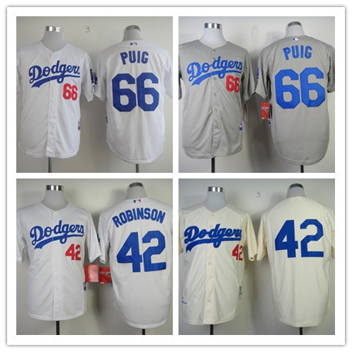 Cheap Los Angeles Dodgers #42 Jackie Robinson Jersey #66 Joc Pederson Jersey White Cream grey Baseball Jerseys(China (Mainland))