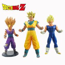 3pcs/lot Dragon Ball Z Super Saiyan Son Gokou Vegeta and Son Gohan PVC Action Figure Model Toy Anime