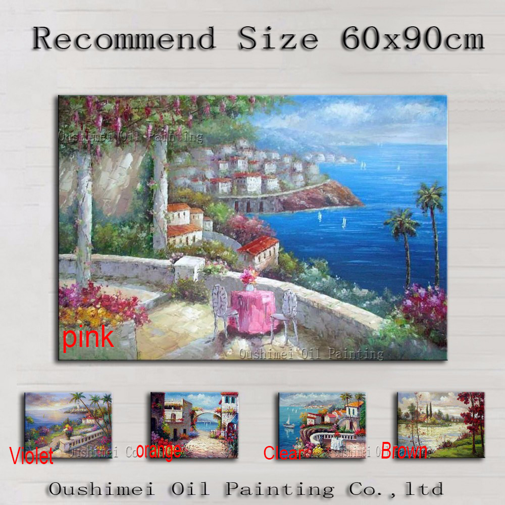 100% Hand painted Europe Mediterranean Sea Scenery Oil Painting On Canvas Handmade Impression Canvas Med Landscape Oil Paining(China (Mainland))