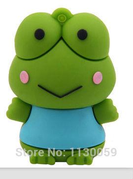 5PCS/Aa lot Green Frog Prince key chain16GB 8GB 4GB Usb Flash Drive Stick Drives Sticks Pen drivesThumb drive S259(China (Mainland))