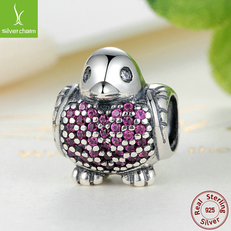 Summer Fashion New 925 Sterling Silver Robin Charm Beads With Red CZ Fit Original Pandora Bracelet Authentic Fine DIY Jewelry(China (Mainland))