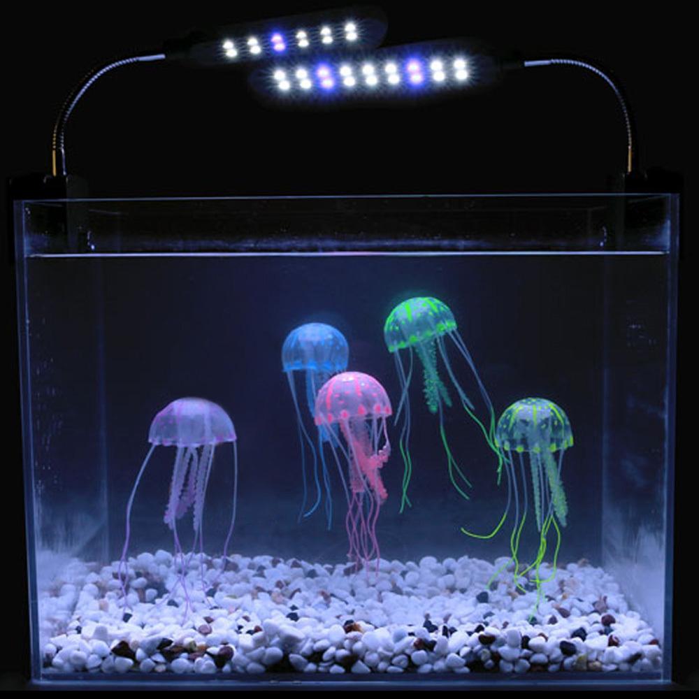 Hot sale New Aquarium Ornaments Accessories 5 Colors Optional 8cm Artificial Glowing Jellyfish with Sucker Fish Tank Aquarium De(China (Mainland))
