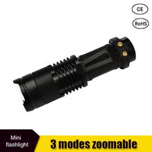 Mini LED Flashlight ZOOM 7W CREE 2000LM Waterproof Lanterna LED 3 Modes Zoomable Torch AA 14500 battery Flashlight Linterna led(China (Mainland))