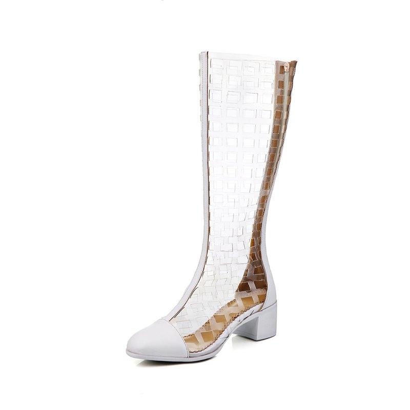 Ankle-Wrap transparent cut-outs zip design women sandals genuine leather+Rubber the knee fashion summer shoes beach sandals<br><br>Aliexpress