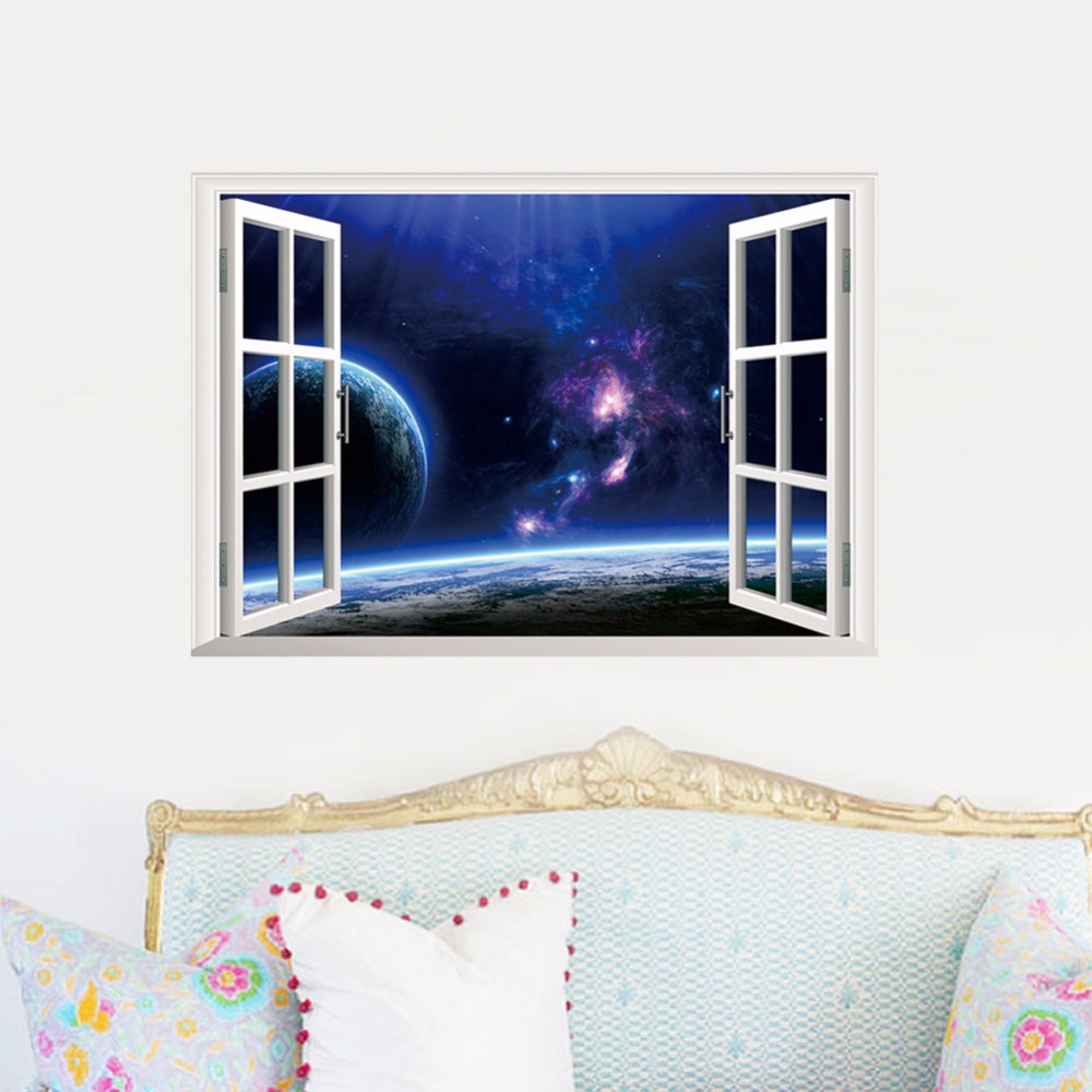 Home Decors 3D Fake Window Wall Stickers Outer Space Universe Pattern For Living Room Mural Art 48*68 CM Wall Decals Decorations(China (Mainland))
