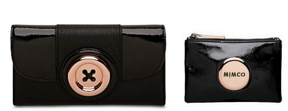 MIMCO BLK ROSE GOLD LASTRE BUTTON WALLET AND BLACK ROSE GOLD SMALL POUCH COMBO(China (Mainland))