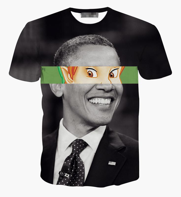 product 2015 Men Plus Size T-shirt  Obama Printing Tops Casual Custom Design Tees Drop Shipping Sye-625