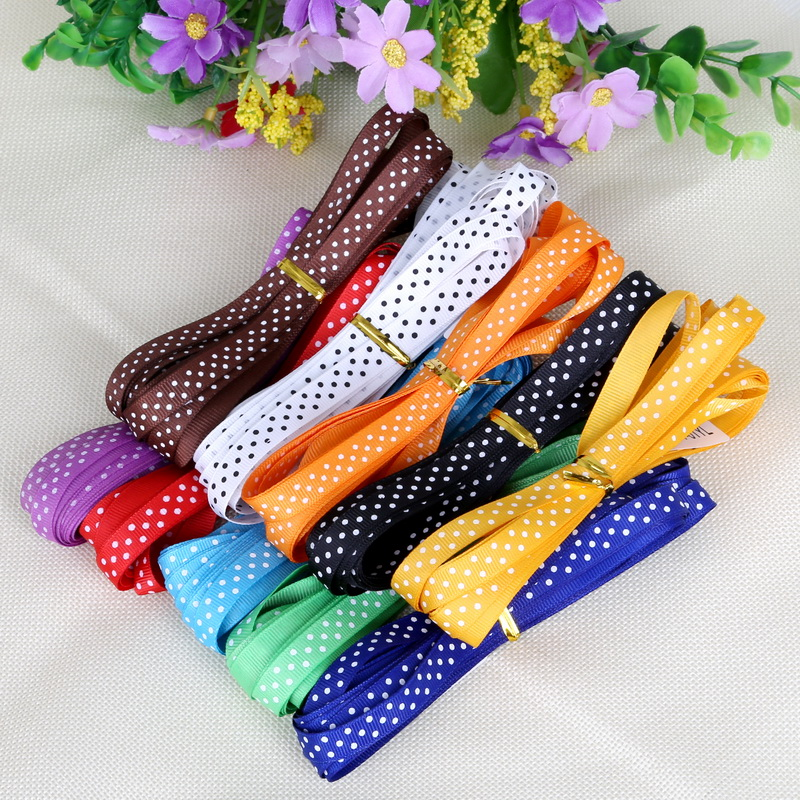 """5 Yard 3/8"""" 10mm Dots Printed Grosgrain Ribbon Packing Belt Gift WrappingTapes Hair Bows Ribbon Accessories(China (Mainland))"""