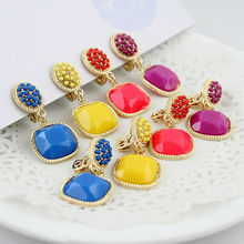 Christmas Gift Blue Red Yellow Purple Green Beads Gold Color Pendent Alloy Clip Earrings New 2015 Brincos For Women(China (Mainland))