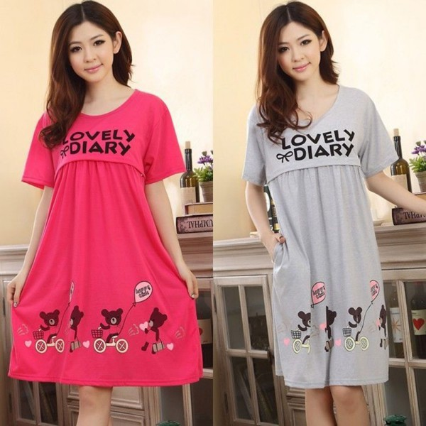New Pregnant Women Cute Bear Lactation Nursing Clothes Short Sleeve Maternity Dress Wholesale