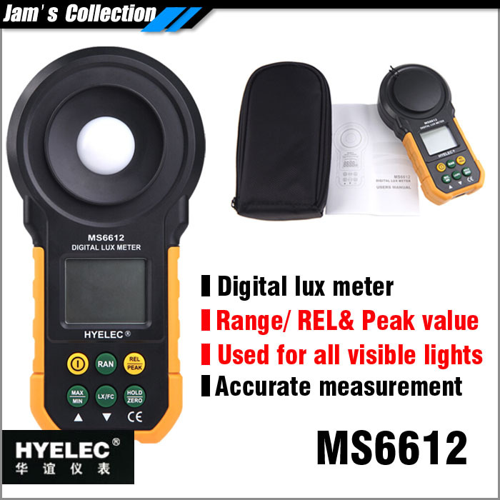 MASTECH HYELEC MS6612 digital lux meter 20000 lux with range, peak value, relative value for all kinds of visible light<br><br>Aliexpress