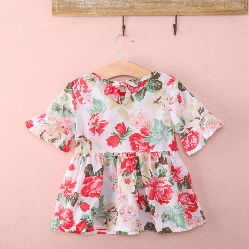 Pink retro flowers flounce short sleeve t shirt cute floral ruffles sleeve baby girls clothes tp tee blouse 1-5 years