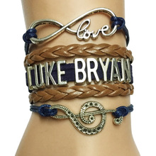 Drop Shipping Infinity Love Luke Bryan Music Charm Handmade Leather Wrap Bracelet-Custom Musicale Note Singer Fans Bracelet