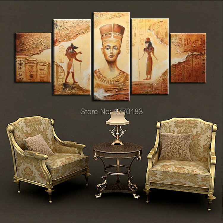 Ancient Egyptian Interior Decor : Abstract Ancient Egyptian Decorative Oil painting On Canvas Home Decor ...