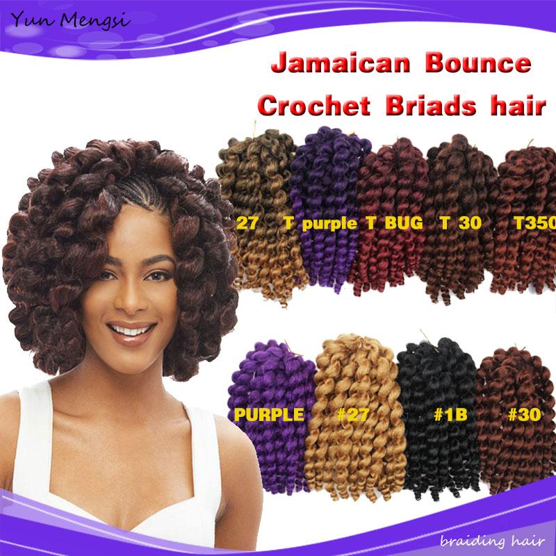 Jamaïcain Rebond Crochet cheveux 10 pouces Baguette Curl tresses boîte hair20strands/pack crépus bouclés extensions