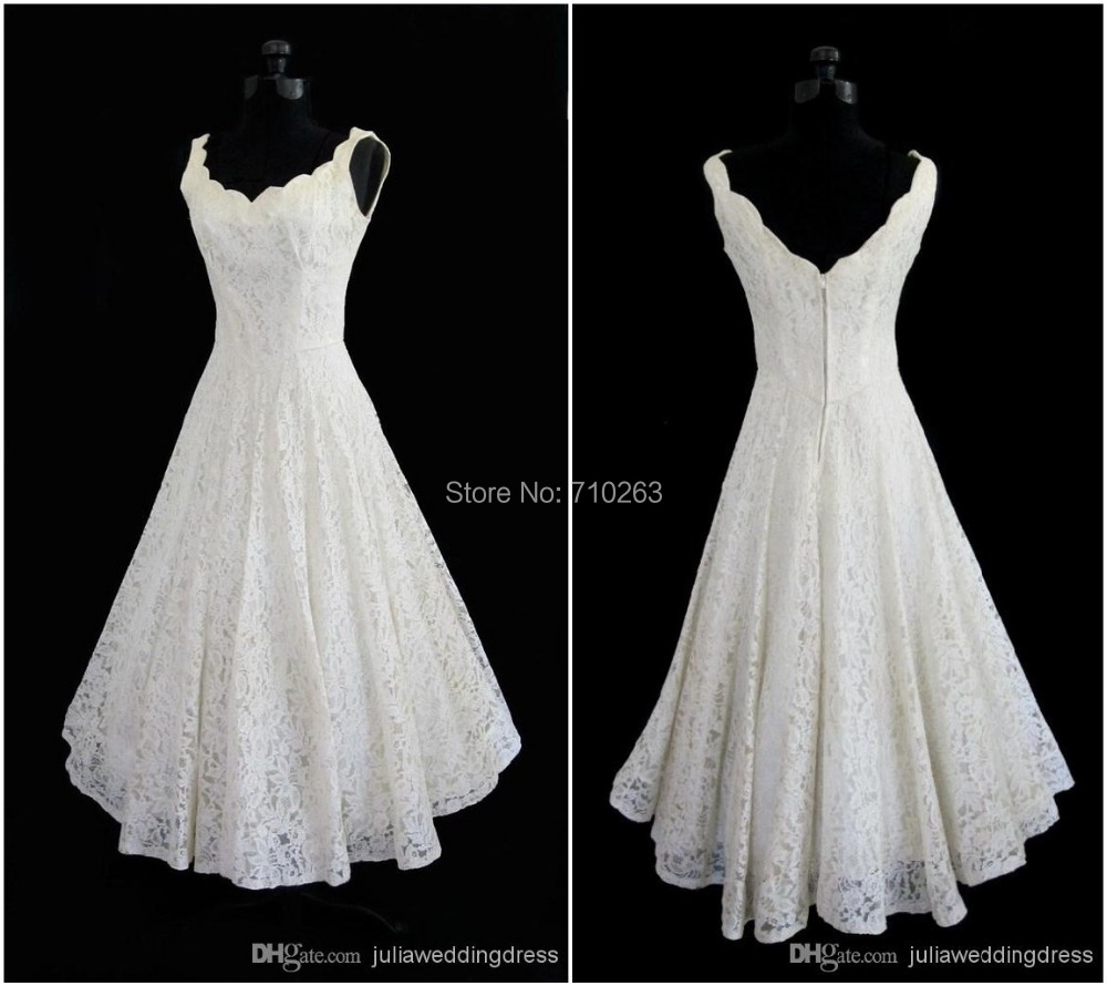 Plus size 2015 new simple scoop neck a line tea length for Wedding dress for a short bride