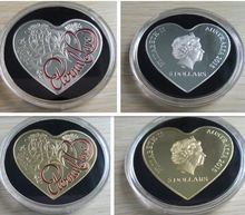 MIX 2pcs/lot Non-magnetic The Australian Eternal love heart shaped Elizabeth silver and gold plated souvenir coins(China (Mainland))