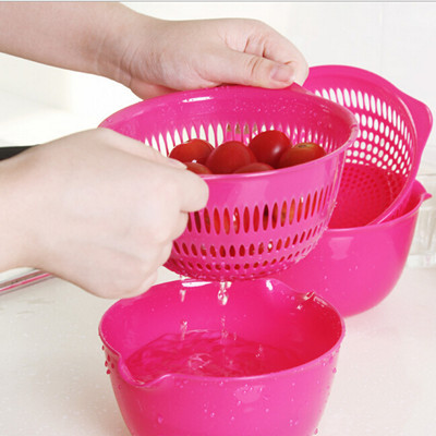 2 PCS Kitchen Accessories Strainer Fruit Vegetable Tools With Drain Basket And Drain Screen Cooking Tools(China (Mainland))