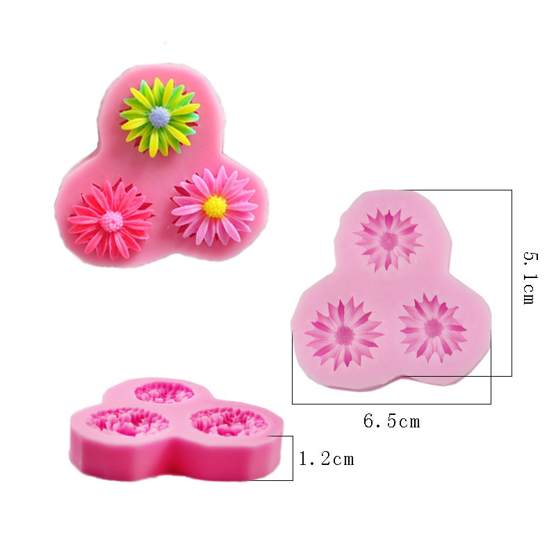 Free Shipping Silicone 3 Even Sunflower Shaped Baking Fondant Cake Mold Chocolate Cookies Pastry Soap Mould 50-49(China (Mainland))