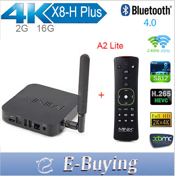 MINIX NEO X8-H Plus Android TV Box Amlogic S812 Quad Core 2G/16G 2.4/5GHz WiFi H.265 2160P XBMC tv player+A2 Lite air mouse(China (Mainland))