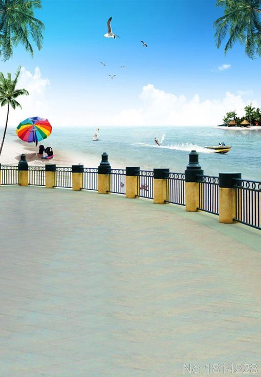 3x5FT Water Sports Surfing Sea Rail Fence Road Palm Tree Sand Beach Umbrella Photography Studio Backdrop Background Vinyl 1x1.5m(China (Mainland))