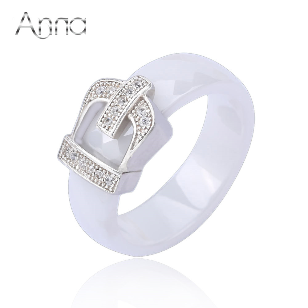a n crown ceramic rings with crystal stone engagement