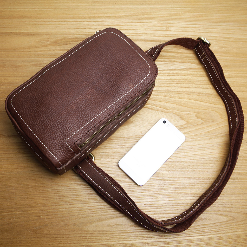 LAN leather men's  waist bag first layer cowhide messenger casual small leather bag