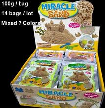 2015 14bags/lot Magic sand 100g aluminum foil bags children's Educational Indoor toy play sand power MIRACLE SAND Mixed 7 colors(China (Mainland))