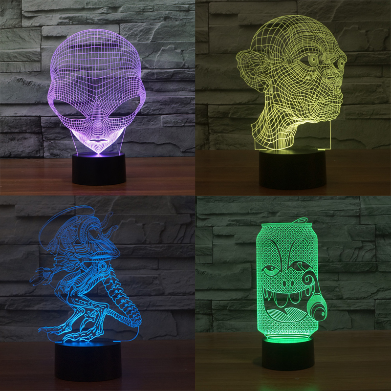 Aliens Aberrations 3D Led Visual Lights Grimace Beasts USB Table Lamp Bulbs Touch Sensor Kids Prank Toys Home Room Decoration(China (Mainland))