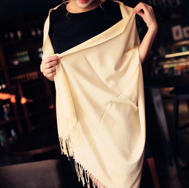 Толстый тёплый женщины зима шарф пашмина обертывания большие длинная шаль имитация кашемир леди сплошной кисточки шарфы 19 цветов